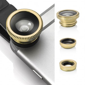 3 in 1 Portable Clip Camera Lens Kit for Universal Mobile Phone Tablet - Gold
