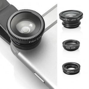 3 in 1 Portable Clip Camera Lens Kit for Universal Mobile Phone Tablet - Black