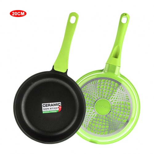 8 inch Ceramic Coated Stir Fry Pan Aluminum Skillet - Green