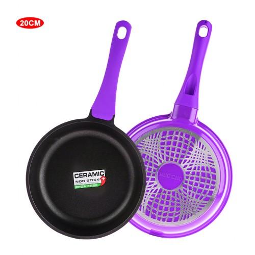 8 inch Ceramic Coated Stir Fry Pan Aluminum Skillet - Purple