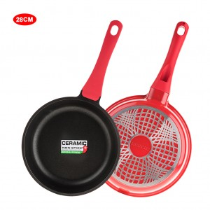 12 inch Ceramic Coated Stir Fry Pan Aluminum Skillet - Red
