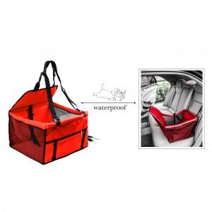 Waterproof Front Bucket Seat Cover for Pets Hammock w/Seatbelt - Red