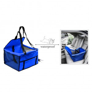 Waterproof Front Bucket Seat Cover for Pets Hammock w/Seatbelt - Blue