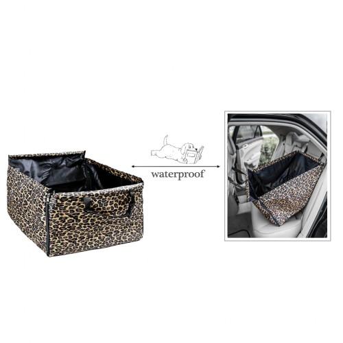Pet Back Rear Seat Cover Hammock Waterproof Zippered - Leopard Print