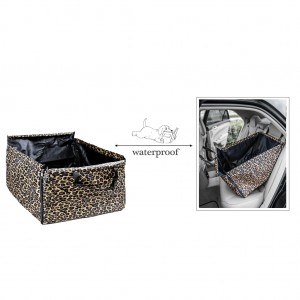 Pet Back Rear Seat Cover Hammock Waterproof Zippered - Leopard Print
