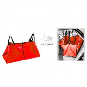 Waterproof Pet Rear Back Seat Cover Protector Hammock w/Seatbelt - Red