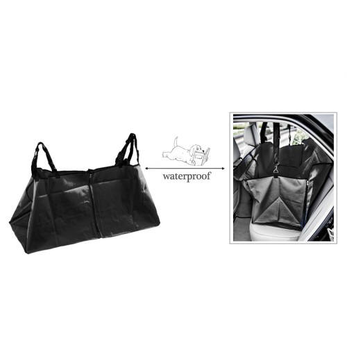 Waterproof Pet Hammock Car Back Seat Cover Protector w/Seatbelt - Blue