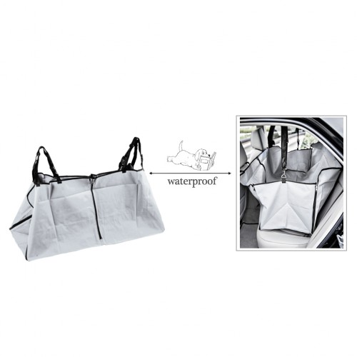 (Pick up only) Waterproof Pet Rear Back Seat Cover Protector Hammock w/Seatbelt - Light Gray