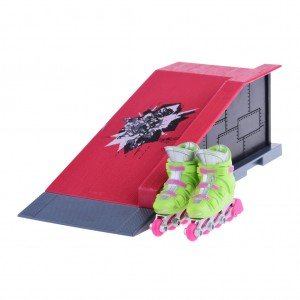 Kids Finger Skating Shoes Roll In Ramp Play Set