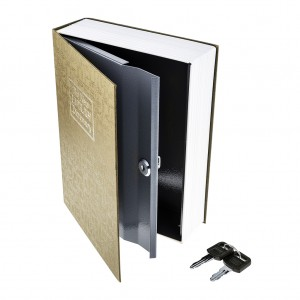 M Size Hidden Safe Dictionary Book Safe with Key Lock - Brown
