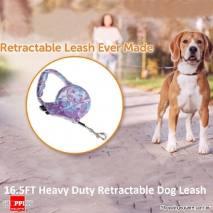 16.5FT Heavy Duty Retractable Dog Leash - Purple