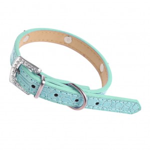 PU Leather Dog Collar with Rhinestones - Blue