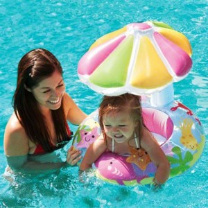 Intex Undersea World Pattern Inflatable Baby Swim Seat with Sunshade Kids Toy