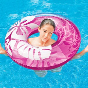 "Intex 36"" Hibiscus Flower Pattern Inflatable Swim Ring PVC"