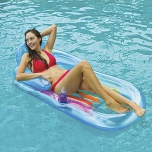 Intex Inflatable Floating Bed with Backrest Double Safety Air Chambers Swimming