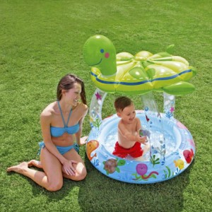 Intex Inflatable Baby Kid Pool with Sea Turtle Shaping Sunshade Trainer
