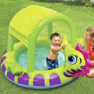 Intex Sea Horse Shaping Inflatable Baby Pool with Sunshade Swimming Pool