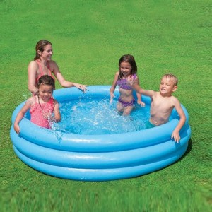 Intex 481L Inflatable Baby Pool Circular PVC with Three Rings Family Swimming