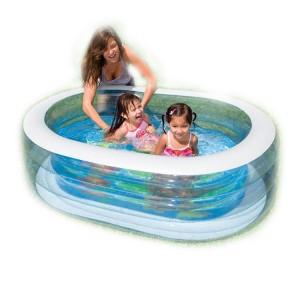 "238L Intex Inflatable Elliptical Baby Pool Large Capacity 64"" x 42"" x 18"""