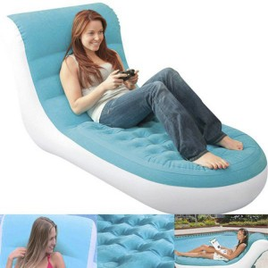 "Intex 33""x 67""x 32"" Inflatable Splash Lounge Flocking Single Sofa Bed Air Chair Pool"