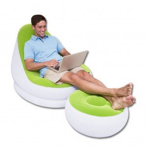 Bestway Inflatable Sofa Flocking Single Couch with An Ottoman
