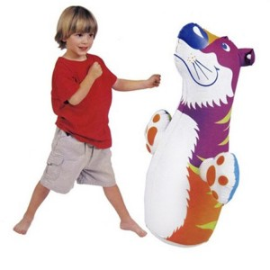 "Intex 39"" x 18"" Tiger-shaped Roly-poly Inflatable Toy with Punch Bop Bag PVC"