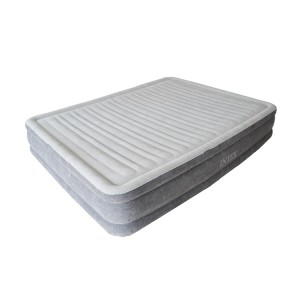 Intex Inflatable Flocking Air Bed with Built-in Electric Pump - Double