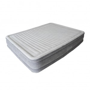 Intex Inflatable Flocking Air Bed with Built-in Electric Pump - Double Plus