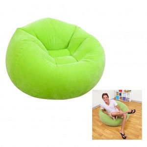 Inflatable Sofa Flocking Single Multi-Functional Couch Gaming Garden - Green