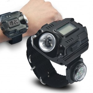 LED Flashlight Watch Sos Compass Wristwatch Date Display USB Charging
