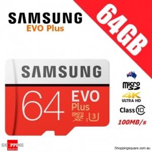 Samsung EVO Plus 64GB micro SD SDXC Memory Card UHS-I U3 100MB/s 4K Ultra HD