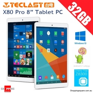 "Teclast X80 Pro 8"" 2GB+32GB Tablet PC IPS with Windows 10 & Android 5.1 Dual Boot Cherry X5 Z8300"