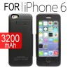 3200mAh Battery Power Bank Case Charger with Front Cover For iPhone 6S/6 Black Colour
