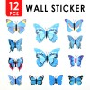 12pcs 3D Butterfly Wall Sticker for Home Decoration Blue Colour