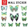 12pcs 3D Butterfly Wall Sticker for Home Decoration Green Colour