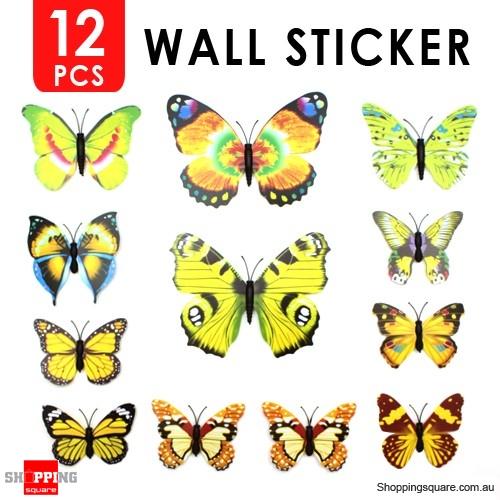 12pcs 3D Butterfly Wall Sticker for Home Decoration Yellow Colour ...