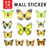 12pcs 3D Butterfly Wall Sticker for Home Decoration Yellow Colour