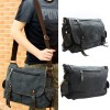 Mens Women Casual Canvas Shoulder Bag Messenger Satchel Crossbody Bag Deep Gray Colour