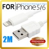 Premium 2M 8Pin Lightning USB Data Charger Cable for iPhone 5 6 iPod Touch Nano 7 iPad 4 Mini Air 2 White Colour