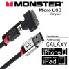 Monster Mobile Connect 2 Micro USB + 30pins Apple iPhone iPad Adapter