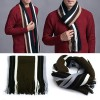 Men's Winter Long Classic Stripes Artificial Wool Scarf Coffee Colour