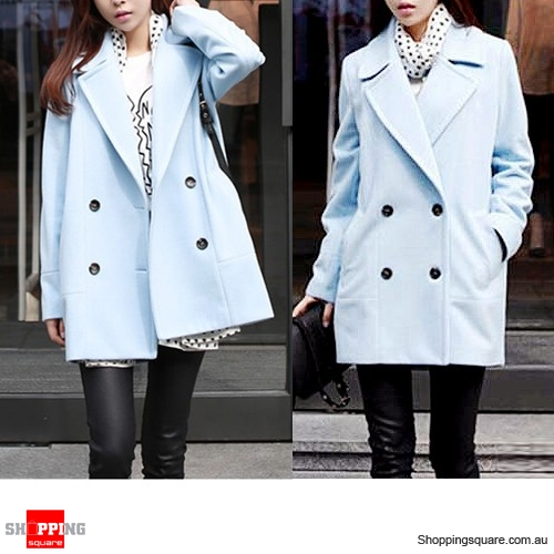 Ladies Korean Slim Double Breasted Woolen Winter Coat Blue Colour Size 10