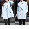 Ladies Korean Slim Double Breasted Woolen Winter Coat Blue Colour Size 14