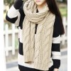 Women's Warm Knit Wool Long Neck Scarf Beige Colour