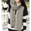 Women's Warm Knit Wool Long Neck Scarf Grey Colour