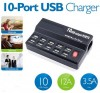 Multifunctional 10 USB Ports Smart Charger Station BLACK