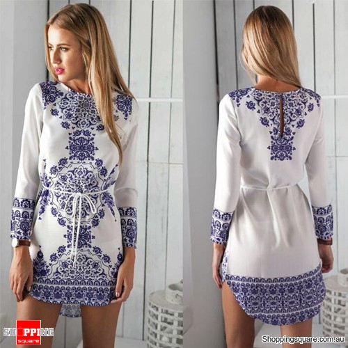 Ladies Party Casual Office OL Porcelain Print Mini Dress White Colour Size 8
