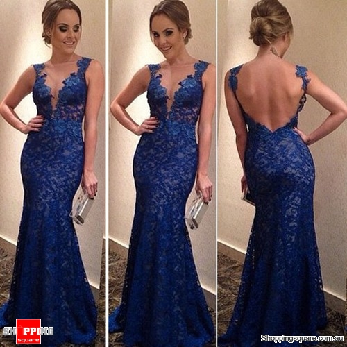 Womens Backless Party Cocktail Evening Long Lace Bodycon Dress Blue Colour Size 10