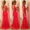 Womens Backless Party Cocktail Evening Long Lace Bodycon Dress Red Colour Size 14