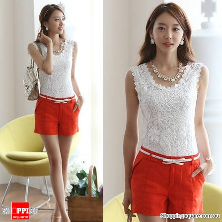 Womens Korean Floral Lace Sleeveless Vest Tank Top Shirt Blouse White Colour Size 10